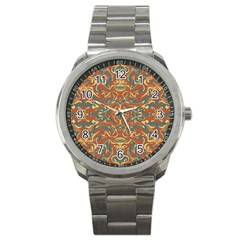 Multicolored Abstract Ornate Pattern Sport Metal Watch