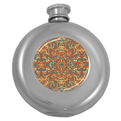 Multicolored Abstract Ornate Pattern Round Hip Flask (5 Oz)