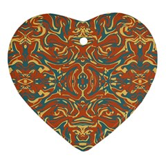 Multicolored Abstract Ornate Pattern Heart Ornament (two Sides)