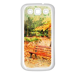 Tree Park Bench Art Abstract Samsung Galaxy S3 Back Case (white)