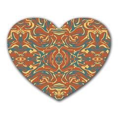 Multicolored Abstract Ornate Pattern Heart Mousepads