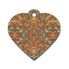 Multicolored Abstract Ornate Pattern Dog Tag Heart (two Sides)
