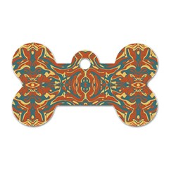Multicolored Abstract Ornate Pattern Dog Tag Bone (two Sides)