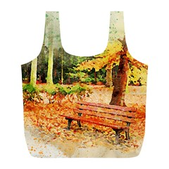 Tree Park Bench Art Abstract Full Print Recycle Bags (l)