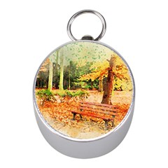 Tree Park Bench Art Abstract Mini Silver Compasses