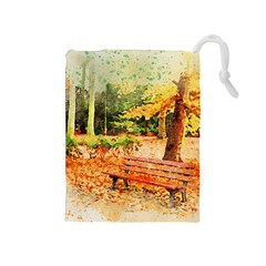 Tree Park Bench Art Abstract Drawstring Pouches (medium)