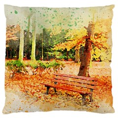 Tree Park Bench Art Abstract Large Flano Cushion Case (one Side)