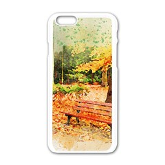 Tree Park Bench Art Abstract Apple Iphone 6/6s White Enamel Case