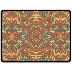 Multicolored Abstract Ornate Pattern Fleece Blanket (large)