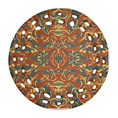 Multicolored Abstract Ornate Pattern Round Filigree Ornament (two Sides)