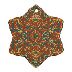 Multicolored Abstract Ornate Pattern Snowflake Ornament (two Sides)