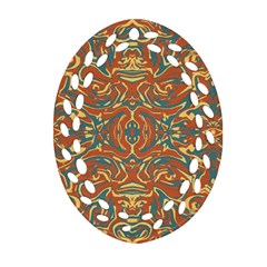 Multicolored Abstract Ornate Pattern Oval Filigree Ornament (two Sides)