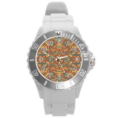 Multicolored Abstract Ornate Pattern Round Plastic Sport Watch (l)
