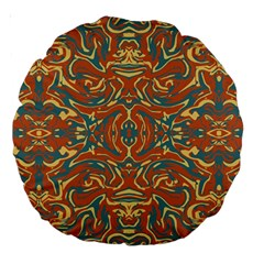 Multicolored Abstract Ornate Pattern Large 18  Premium Round Cushions