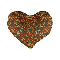 Multicolored Abstract Ornate Pattern Standard 16  Premium Heart Shape Cushions