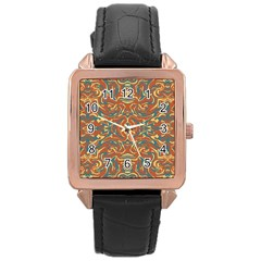 Multicolored Abstract Ornate Pattern Rose Gold Leather Watch