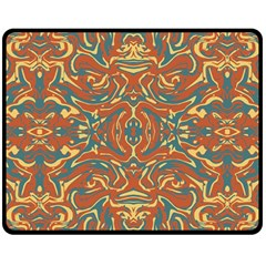 Multicolored Abstract Ornate Pattern Double Sided Fleece Blanket (medium)