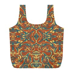 Multicolored Abstract Ornate Pattern Full Print Recycle Bags (l)