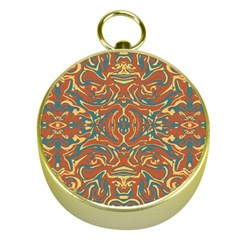 Multicolored Abstract Ornate Pattern Gold Compasses