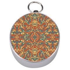 Multicolored Abstract Ornate Pattern Silver Compasses