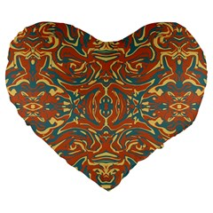 Multicolored Abstract Ornate Pattern Large 19  Premium Flano Heart Shape Cushions
