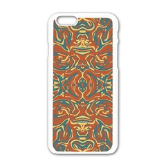 Multicolored Abstract Ornate Pattern Apple Iphone 6/6s White Enamel Case