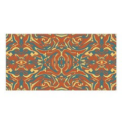 Multicolored Abstract Ornate Pattern Satin Shawl