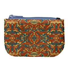 Multicolored Abstract Ornate Pattern Large Coin Purse