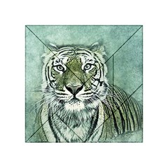 Tiger Cat Art Abstract Vintage Acrylic Tangram Puzzle (4  X 4 )