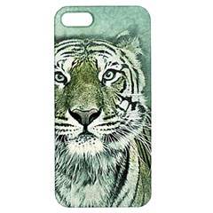 Tiger Cat Art Abstract Vintage Apple Iphone 5 Hardshell Case With Stand