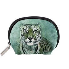 Tiger Cat Art Abstract Vintage Accessory Pouches (small)