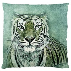Tiger Cat Art Abstract Vintage Large Flano Cushion Case (one Side)
