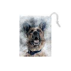 Dog Pet Art Abstract Vintage Drawstring Pouches (small)
