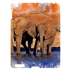 Elephants Animal Art Abstract Apple Ipad 3/4 Hardshell Case