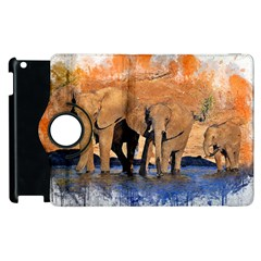 Elephants Animal Art Abstract Apple Ipad 2 Flip 360 Case
