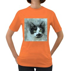Cat Pet Art Abstract Vintage Women s Dark T Shirt
