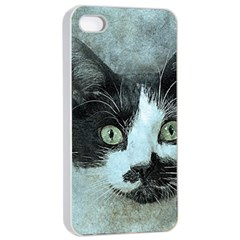 Cat Pet Art Abstract Vintage Apple Iphone 4/4s Seamless Case (white)