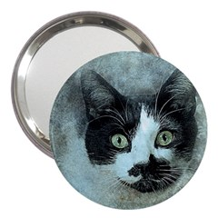 Cat Pet Art Abstract Vintage 3  Handbag Mirrors
