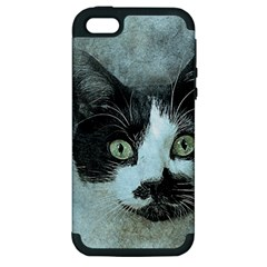 Cat Pet Art Abstract Vintage Apple Iphone 5 Hardshell Case (pc+silicone)