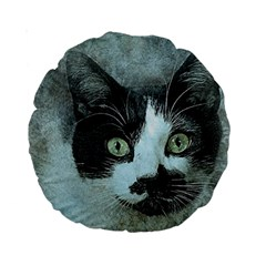 Cat Pet Art Abstract Vintage Standard 15  Premium Round Cushions