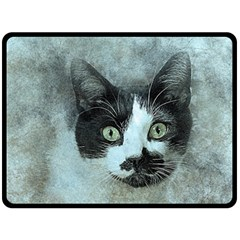 Cat Pet Art Abstract Vintage Double Sided Fleece Blanket (large)