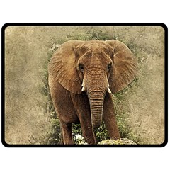 Elephant Animal Art Abstract Double Sided Fleece Blanket (large)