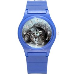 Cat Pet Art Abstract Vintage Round Plastic Sport Watch (s)