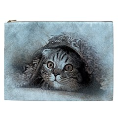 Cat Pet Art Abstract Vintage Cosmetic Bag (xxl)