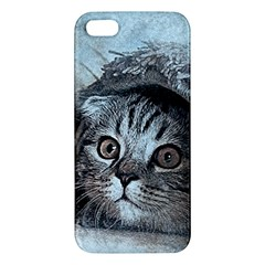 Cat Pet Art Abstract Vintage Apple Iphone 5 Premium Hardshell Case