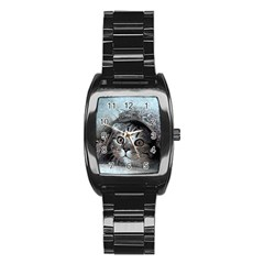 Cat Pet Art Abstract Vintage Stainless Steel Barrel Watch