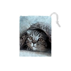 Cat Pet Art Abstract Vintage Drawstring Pouches (small)