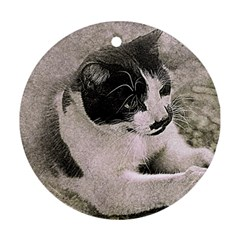 Cat Pet Art Abstract Vintage Ornament (round)