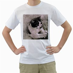 Cat Pet Art Abstract Vintage Men s T Shirt (white) (two Sided)