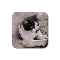 Cat Pet Art Abstract Vintage Rubber Square Coaster (4 Pack)